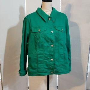 Liz Claiborne ladies green denim jacket